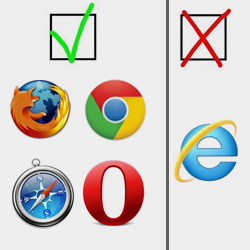 explorer non compatible mais firefox compatible chrome compatible opéra compatible safari compatible